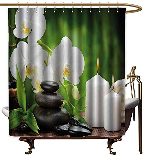 Shower Curtains Liner Long Spa Decor,Zen Stones with Orchid and Burning Candles in a Romantic Harmony,Green Charcoal Grey,W69 x L72,Shower Curtain for Small Shower stall