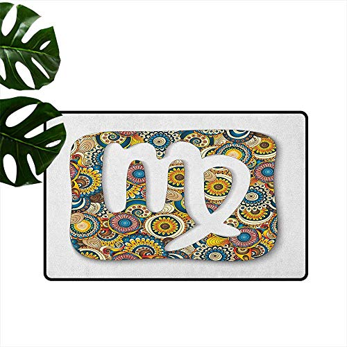 Virgo,Kitchen Rugs Abstract Flowers and Vibrant Colored Background Hand Drawn Astrological Symbol Image 20