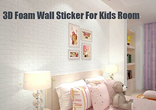 3D Wall Panels Stickers White Brick For Living Room Bedroom Kids Children's Room, Self Adhesive Peel&Stick Faux Foam Bricks Wallpaper 8 PACK by POPPAP (Image #5)