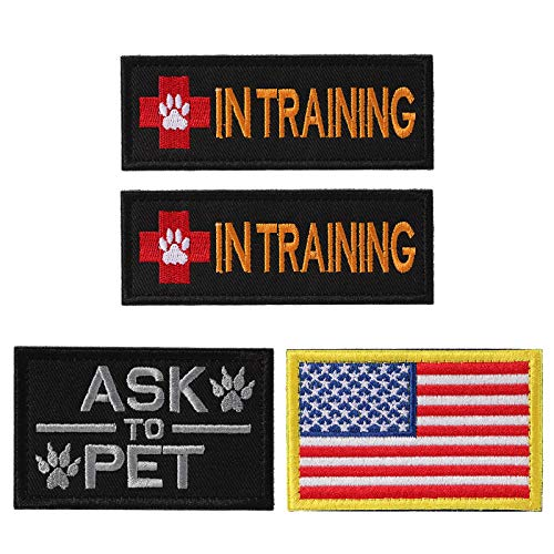 (Petvins Service Dog Patch for Vest Harness Backpack K9 Morale Badge Tactical Hook and Loop in Training USA Back Embroidered Tag)