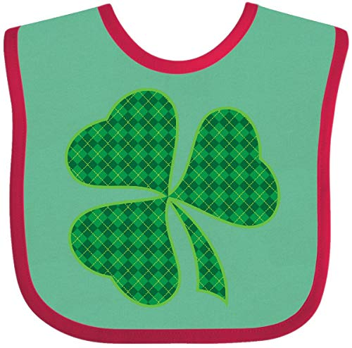 (Inktastic - Irish Plaid Shamrock Clover Baby Bib Green and Red f557)