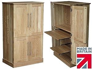 100 Solid Oak Workstation 4 Door Computer Desk 4 Door