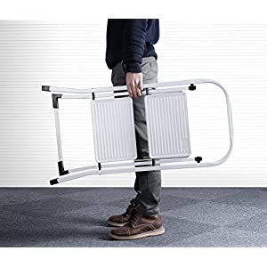 Delxo 2 Step Ladder Folding Step Stool Ladder with Handgrip Anti-slip Sturdy and Wide Pedal Multi-Use for Household and Office Portable Step Stool Steel 330lbs White (2 feet)