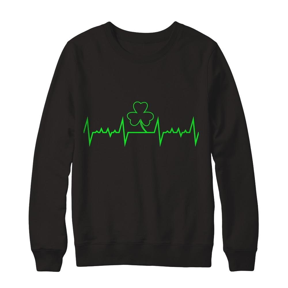 Pullover Sweatshirt Teely Shop Mens Funny ST Patricks Day s Heartbeat Gildan