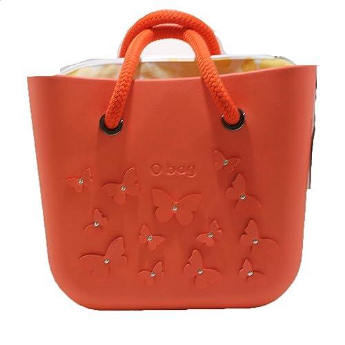 OBAG Bolsa O Bag Mini Naranja Edición Limitada con mariposas, Bolsa interna amarilla y Mango corto Naranja: Amazon.es: Zapatos y complementos