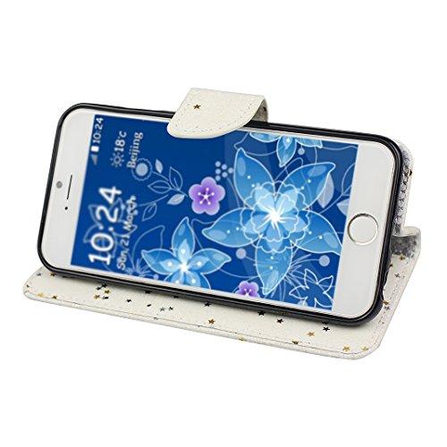 Funda iPhone 6S Rosa Schleife iPhone 6 Funda Cristal Bling Cuero Resistente Book Flip Case Soporte Plegable Ranuras para Tarjetas y Billetes Estilo Libro Acceso a Botones Cierre Magnético blanco