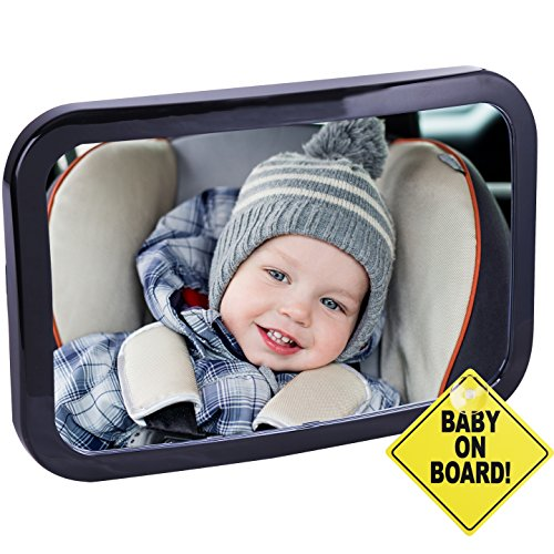 CARTMAN Baby Car Mirror 360 Adjustable & Double Straps with Baby on Board Sign