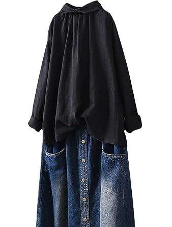 Minibee Womens Casual Long Sleeve Shirt Loose Pullover Linen Blouses