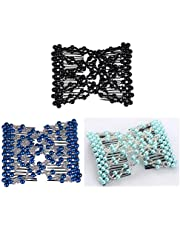 Casualfashion Pack of 3 Awesome Easy Stretching Combs, Hand-beaded Double Combs Hair Clips for Women Girls