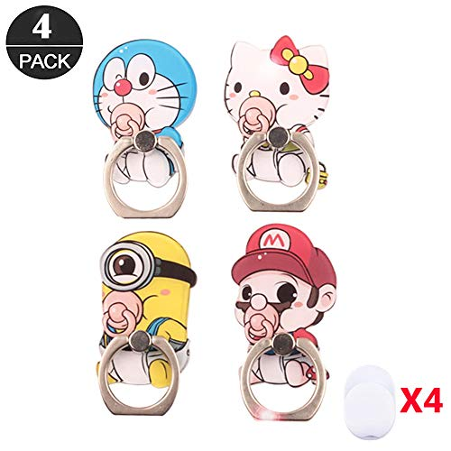 ZOEAST(TM) 4 Pack Phone Ring Grip Suckling Minion Super Mario Cat Universal 360° Adjustable Holder Desk Hook Stand Stent Mount Kickstand Compatible with iPhone X Plus Samsung iPad Tablet (4pcs Baby)]()