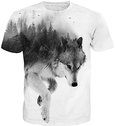 Cutemefy Unisex Tshirts 3D Print Animal Short Sleeve Round Neck Tee Shirts ()