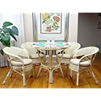 5 Pc Pelangi Rattan Wicker Dining Set Round Table Glass Top + 4 Arm Chairs. White Wash Color