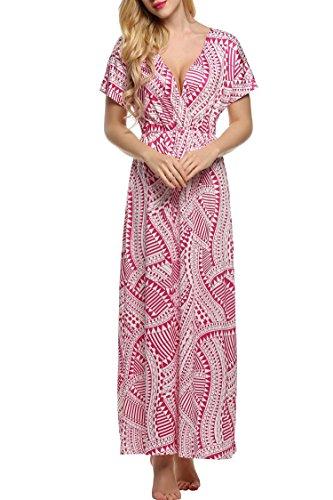 ACEVOG Women V Neck Short Sleeve Boho Floral Stripe Beach Long Maxi Dress