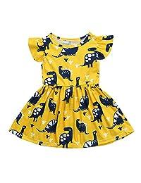 Birdfly Girl Cute Dress with Dinosaur Pattern in Yellow 2T-6T
