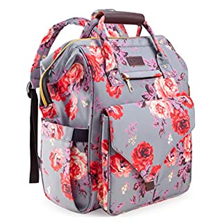 Diaper Bag Backpack, Upgraded Kaome Large Capacity Multifunction Nappy Bags, Waterproof Baby Bag Floral Insulated Durable Travel Maternity Back Pack for Baby Girls with Diaper Pad Bottle Bag (Floral)