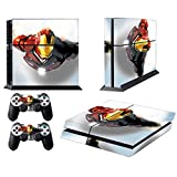 MightyStickers PS4 Console Designer Protective Vinyl Skin Decal Cover for Sony PlayStation 4 & Remote DualShock 4 Wireless Controller Stickers - Marvel Avengers Gangster Iron Man 3 Flying Extreme Hero