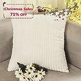 Home Brilliant Striped Corduroy Euro Throw Pillow Sham Large Cushion Cover for Chair, 24 x 24 inch (60cm), Cream Cheese