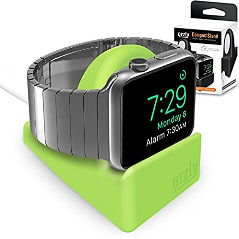 Orzly Compact Stand for Apple Watch - Nightstand Mode Compatible - GREEN Support Stand with integrated Cable Management Slot (38mm & 42mm compatible)