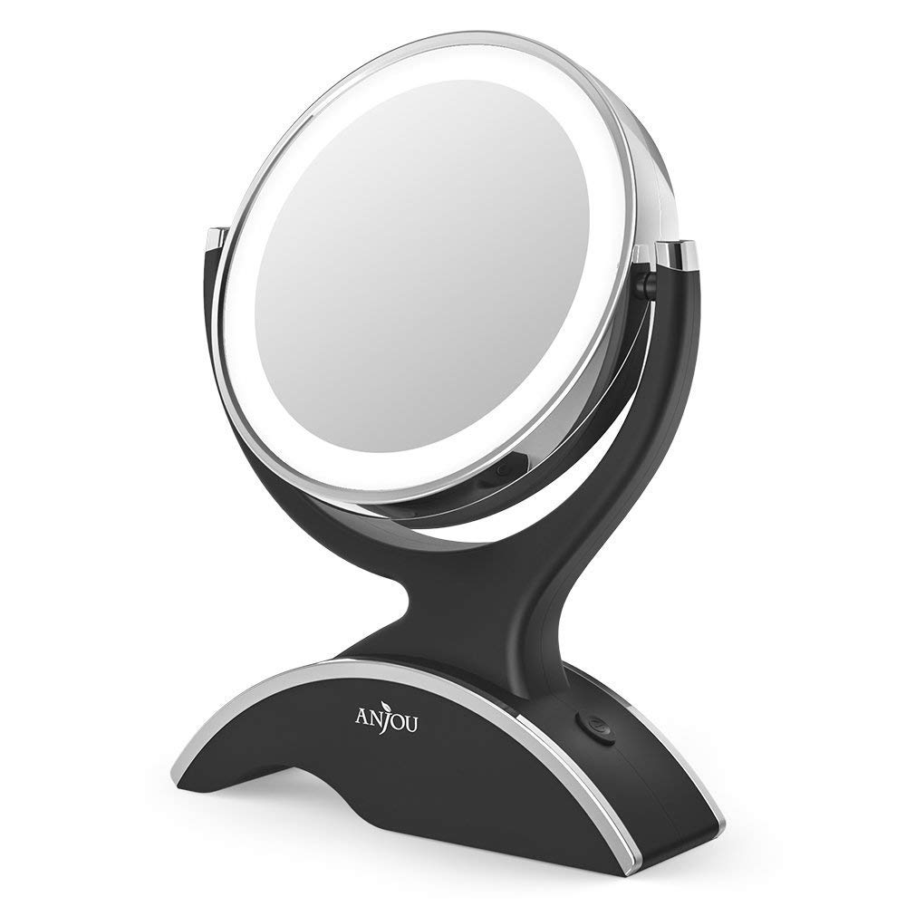 Anjou Table Top 7X / 1X Magnification LED Illuminated Cosmetic, 13cm Diameter Bathroom Round Makeup Mirror-360 Degree Swivel