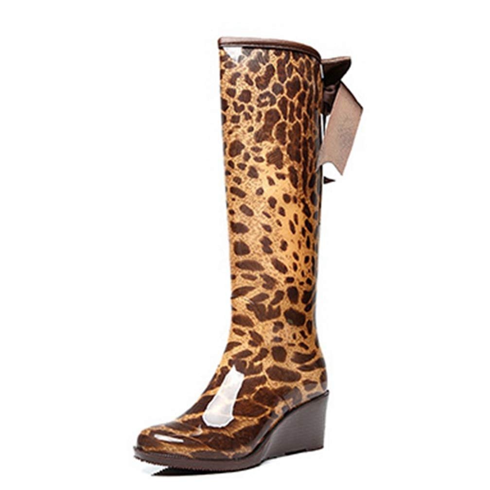 Leopard Hoxekle Woman Knee High Boots Slip On Wedge Mid Heel Back Bows Waterproof Rainboots Fashion Cool Winter Long Boots