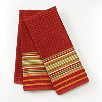 Amazon.com: Bobby Flay Fiesta Red Stripe 2-pack Kitchen Towels ...