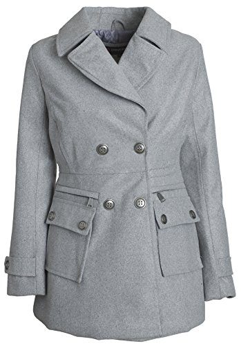 Quilted Peacoat (Urban Junior Women Classic Wool Look Padded Winter Dress Peacoat Jacket Pea Coat - Heather Grey)