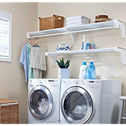 EZ Shelf - Expandable Laundry Room Organizer, up to 12.6 ft of Laundry Room Storage and 6.3 ft of Laundry Room Shelves(with Hanging Rod), White