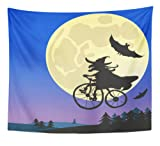 Emvency Tapestry Artwork Wall Hanging Bicycling Old