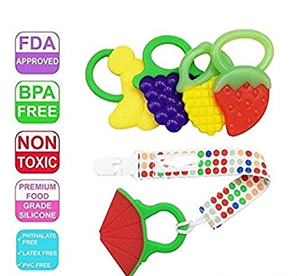 Fruit Teething Toys for Best Teether Massage. Molar Soother with Soft Sensory BPA free Natural Silicone Teethers Toy for Babies, Toddlers, Kids Children- Make Your Happy Infant Smile 4 Grip Pack (Fruit Trees) KENSAR GROUP