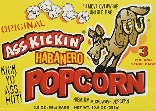 Ass Kickin' Habanero Popcorn 3-Pack (3.5oz per bag)- Put a little Ass Kickin' in your favorite movie! This popcorn is seasoned just right, with a taste of the southwest. Save - Favorite Movie Your