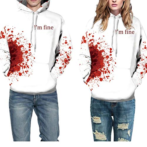 Halloween Costume Women Men Scary Skeleton Blood 3D Print Hoodie Sweatshirt Top(C,S/M)