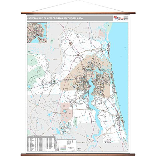 MarketMAPS Jacksonville, FL Metro Area Wall Map - 2018 - ZIP Codes - Laminated with Wooden Rails - 64 x 48 inches (Decor Home Jacksonville Fl)