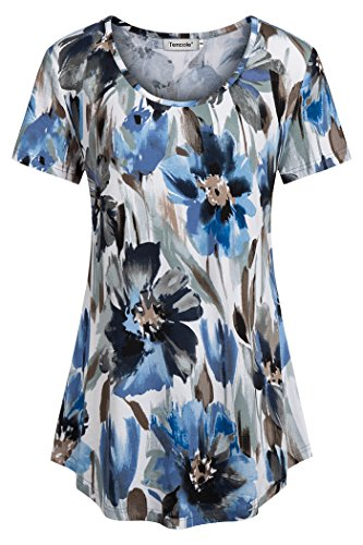 Tencole Work Tunic, Women Summer Airy Breezy Misses Tops Swing Tunic Beauty Longline Round Neck Flared Blouses for Office White Blue - Tunic Hawaiian