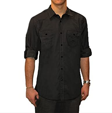 Bruno New York Men's Casual Button Down Shirt, Black, Small at ...