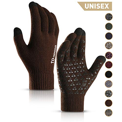 TRENDOUX Driving Gloves, Unisex Knit Winter Touchscreen Glove Men Women Texting Smartphone - Elastic Cuff - Thermal Wool Lining - Stretchy Material Coffee - L