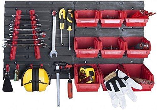 Aus robustem Kunststoff XL Werkzeugwand mit 2 Paneelen und /üppigem Zubeh/örset bestehend aus 32 Haken und 9 Lagersichtboxen Top