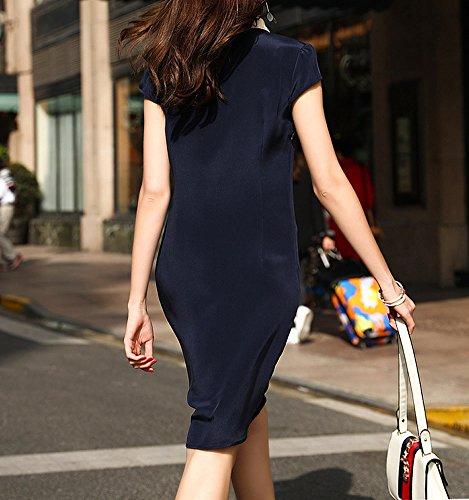 Knee DISSA Cocktail S9978 Abendkleid Seide Blau Kleid Damen Kleider Gestreift Übergröße Long q66tBpCZxw