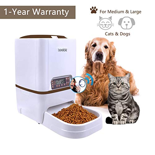 Iseebiz 6L Automatic Pet Feeder, Cat Dog Food Dispenser Hopper, 4 Meals a Day with Voice Recorder, Portion Control…