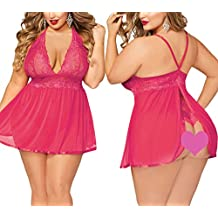 JuicyRose Open Back Lingerie Lace Babydoll Sleepwear Plus Size