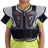 ZZ Lighting Kids Chest Spine Protector Body Armor Vest Protective Gear for Motocross Dirt Bike Skiing Snowboarding, Black L