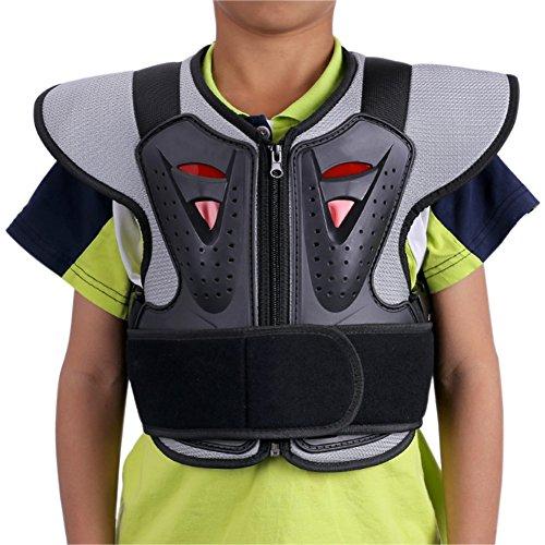 ZZ Lighting Kids Chest Spine Protector Body Armor Vest Protective Gear for Motocross Dirt Bike Skiing Snowboarding, Black L by ZZ Lighting