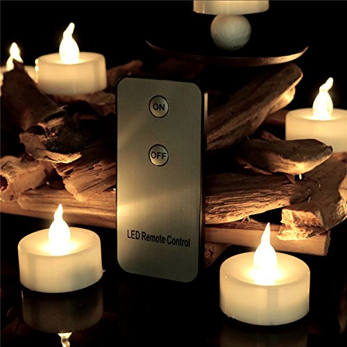 LifeGenius Set of 96 LED Flickering Unscented Flameless Votive Candles Bulk Warm White Remote Control 1.4 Inch Mini Tea Lights Set Battery Operated by LifeGenius