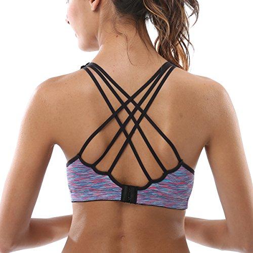 ATTRACO Ladies Seamless Support Criss Cross Workout Yoga Sports Bra Purple L ()