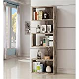 Bookcase / Bookshelves Contemporary Salvaged Cabin Bookcase, Salvaged, Silver Finish 11.50 x 24.75 x 70.75 in