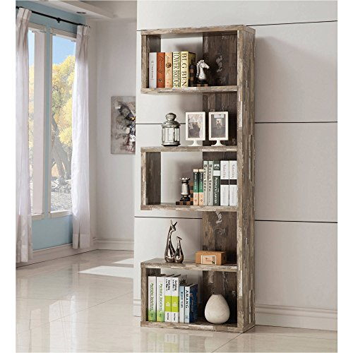 Bookcase / Bookshelves Contemporary Salvaged Cabin Bookcase, Salvaged, Silver Finish 11.50 x 24.75 x 70.75 in by Coaster H.
