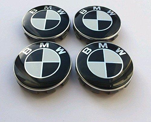 SET OF 4 BMW BLACK/WHITE ALLOY WHEEL CENTRE CAPS 10 PIN CLIPS 68MM fits Series 1 2 3 5 6 7 8 Z3 Z4 M3 M5 M6 X1 X3 X5 X6 E30 E32 E34 E36 E38 E39 E46 E60 E65 E90