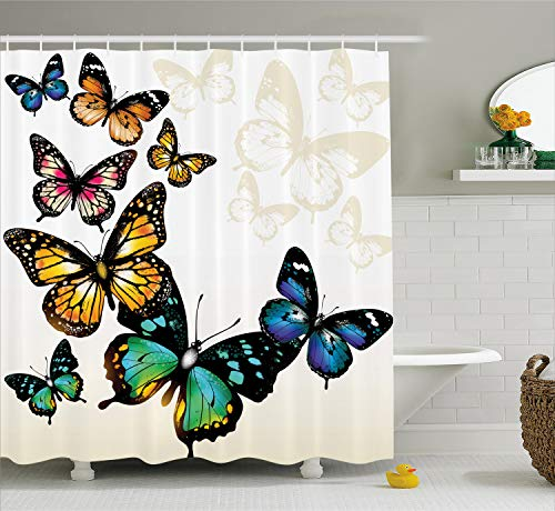Ambesonne Butterfly Shower Curtain, Vivid Monarch Butterflies Flying Shades Shadows Dreamlike Fantasy Display, Cloth Fabric Bathroom Decor Set with Hooks, 70