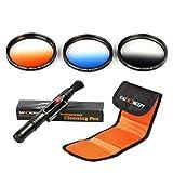 77mm Colour Filter Kit,K&F Concept 3pcs 77mm Graduated (Orange Blue Grey)Lens Filter Kit for Canon 6D 5D Mark II 5D Mark III for Nikon D610 D700 D800 DSLR Cameras + Cleaning Pen + Filter Bag Pouch