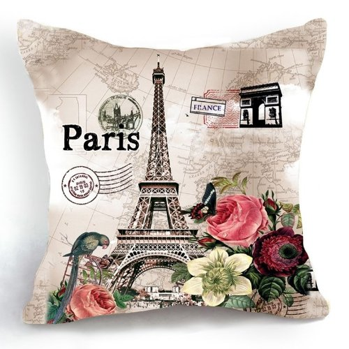 Decors Teal Chandelier Vintage Paris Decor Pillow Case Retro Vintage Paris Eiffel Tower Home Cotton Linen