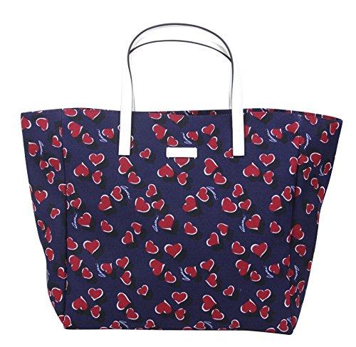 Gucci Blue Canvas Handbag Heartbit Print Tote Bag 282439 4160